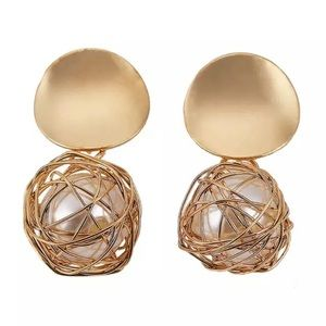 Zara Round Gold Metal Drop Earrings Pearl Hanging
